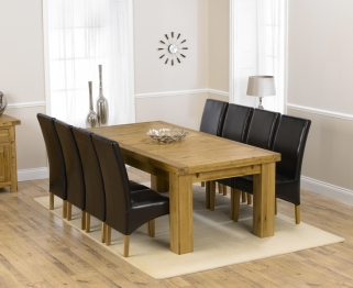 Mark Harris Laurent Solid Oak 230cm Extending Dining Table with 8 Roma Brown Chairs
