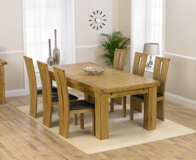 Mark Harris Laurent Solid Oak Dining Set - 230cm Extending with 4 Arizona Brown Chairs