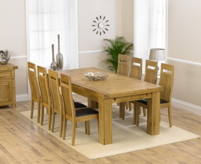 Mark Harris Laurent Solid Oak Dining Set - 230cm Extending with 4 Monte Carlo Brown Chairs