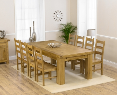 Mark Harris Laurent Solid Oak Dining Set - 230cm Extending with 4 Valencia Timber Chairs