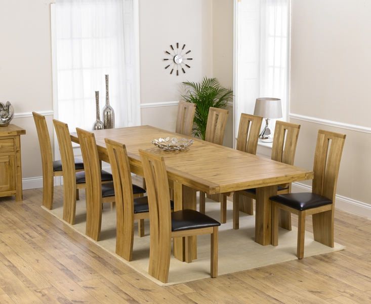 Mark Harris Laurent Solid Oak 230cm Extending Dining Table with 10 Arizona Brown Chairs