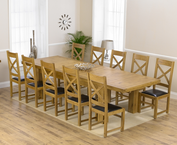 Mark Harris Laurent Solid Oak 230cm Extending Dining Table with 10 Canterbury Brown Chairs