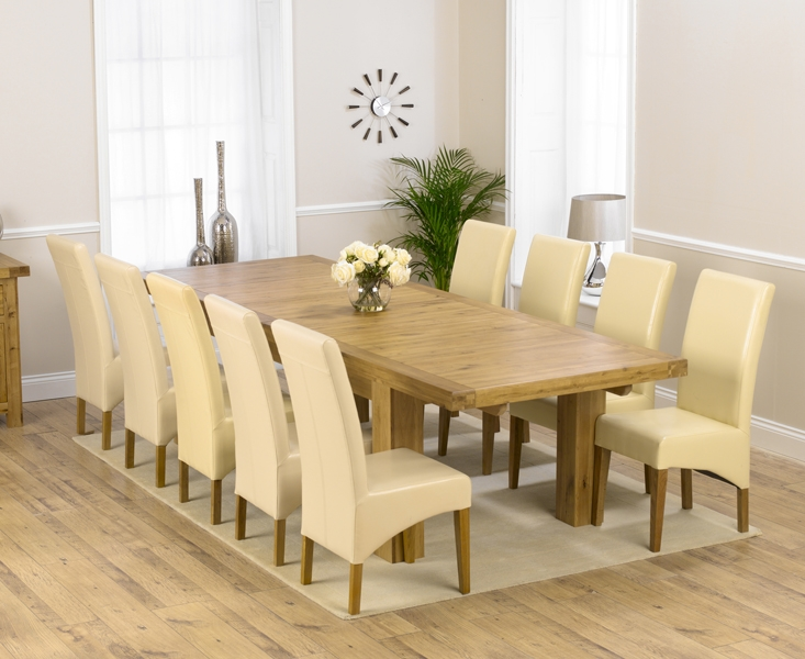 Mark Harris Laurent Solid Oak 230cm Extending Dining Set with 10 Roma Cream Dining Chairs
