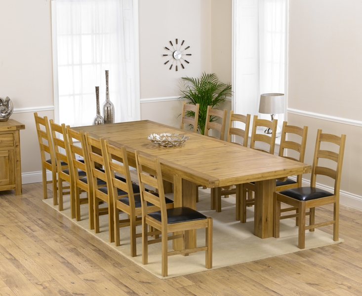 Mark Harris Laurent Solid Oak 230cm Extending Dining Set with 12 Valencia Brown Dining Chairs