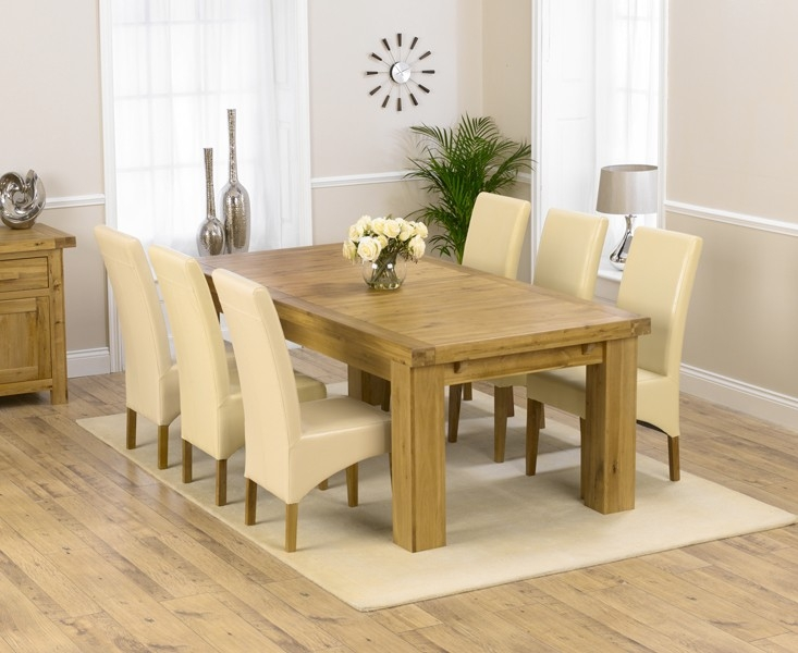 Mark Harris Laurent Solid Oak 230cm Extending Dining Table with 6 Roma Cream Chairs