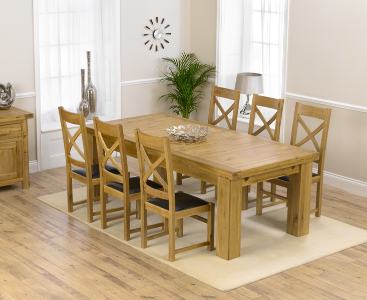 Mark Harris Laurent Solid Oak Dining Set - 230cm Extending with 4 Canterbury Brown Chairs