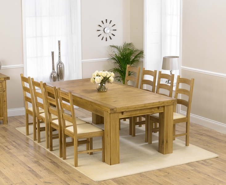 Mark Harris Laurent Solid Oak Dining Set - 230cm Rectangular Extending with 4 Valencia Cream Chairs