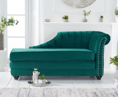 Mark Harris Laurn Green Right Facing Chaise Sofa