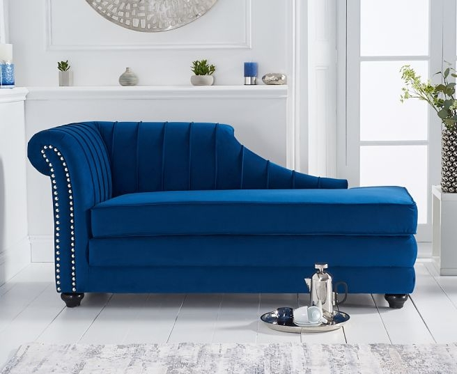 Mark Harris Laurn Blue Left Facing Chaise Sofa