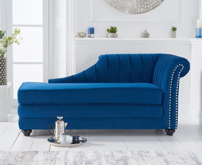 Mark Harris Laurn Blue Right Facing Chaise Sofa