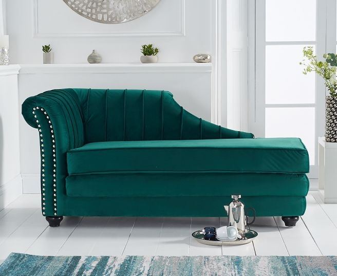 Mark Harris Laurn Green Left Facing Chaise Sofa