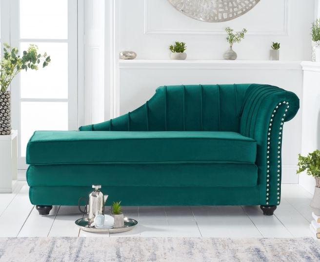 Mark Harris Laurn Green Right Facing Chaise Sofa