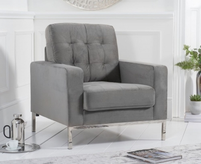Mark Harris Lillian Grey Velvet Armchair