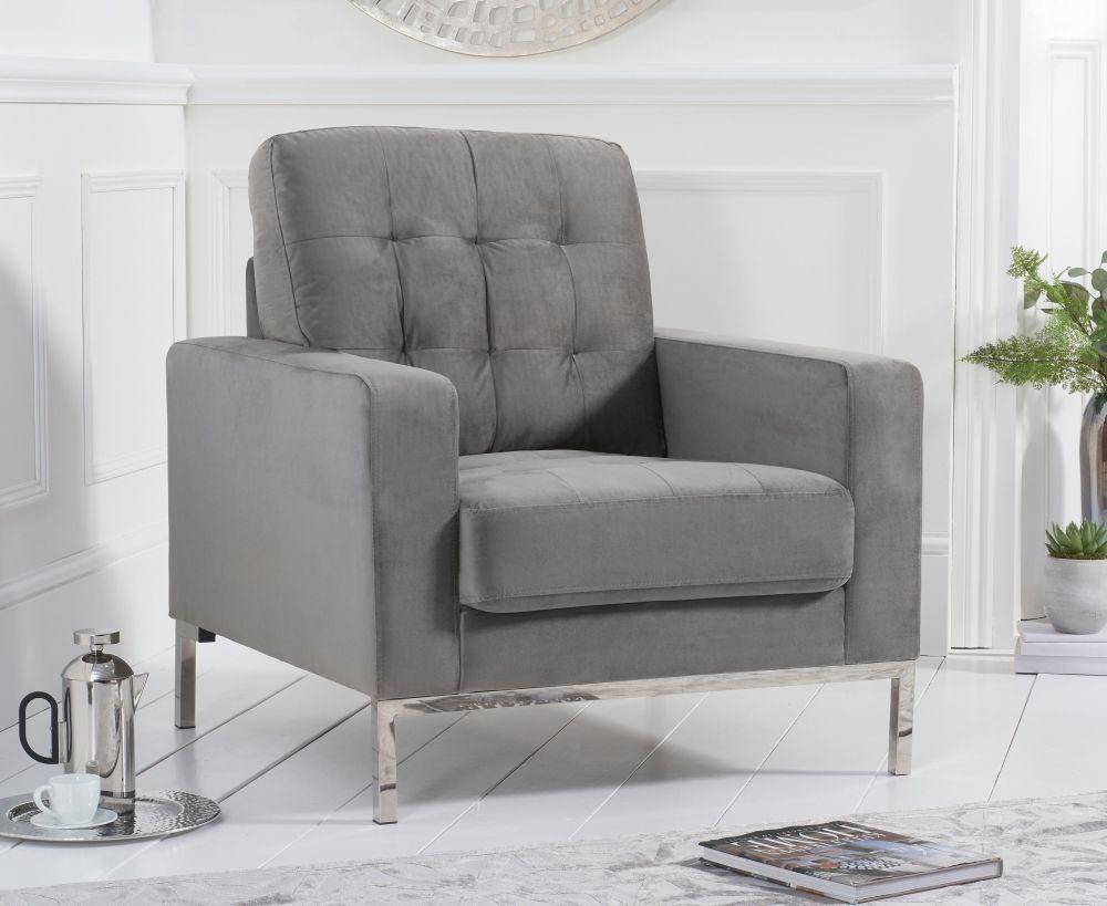 Mark Harris Lillian Grey Velvet Armchair