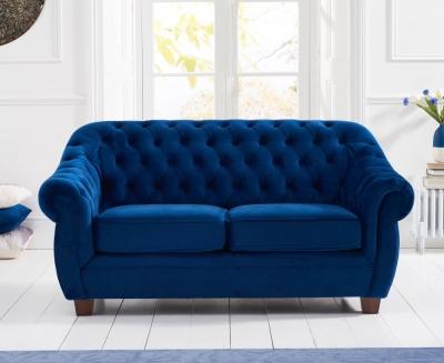 Mark Harris Liv Chesterfield Blue Plush Fabric 2 Seater Sofa
