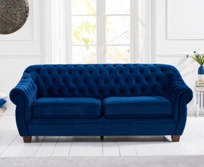 Mark Harris Liv Chesterfield Blue Plush Fabric 3 Seater Sofa