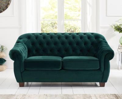 Mark Harris Liv Chesterfield Green Plush Fabric 2 Seater Sofa