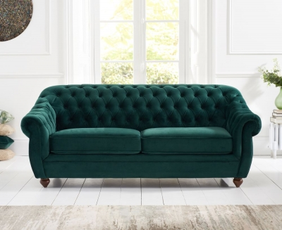 Mark Harris Liv Chesterfield Green Plush Fabric 3 Seater Sofa
