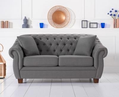 Mark Harris Liv Chesterfield Grey Fabric 2 Seater Sofa