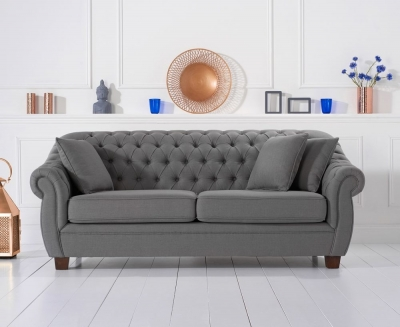Mark Harris Liv Chesterfield Grey Fabric 3 Seater Sofa