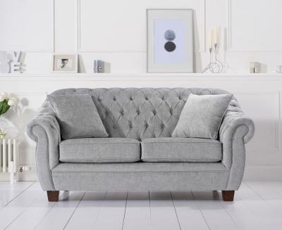 Mark Harris Liv Chesterfield Grey Plush Fabric 2 Seater Sofa