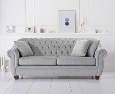 Mark Harris Liv Chesterfield Grey Plush Fabric 3 Seater Sofa