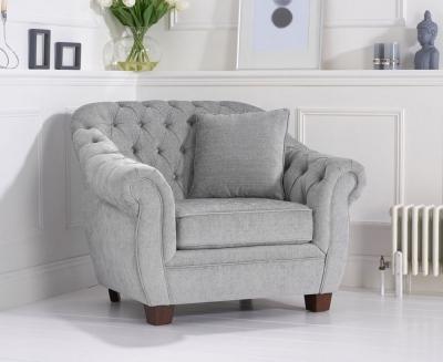 Mark Harris Liv Chesterfield Grey Plush Fabric Armchair