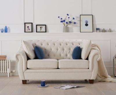Mark Harris Liv Chesterfield Ivory Fabric 2 Seater Sofa