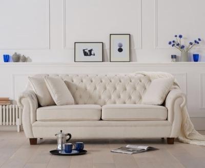 Mark Harris Liv Chesterfield Ivory Fabric 3 Seater Sofa