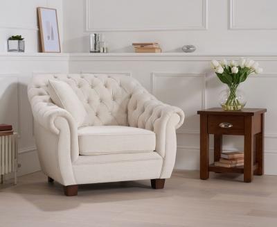 Mark Harris Liv Chesterfield Ivory Fabric Armchair