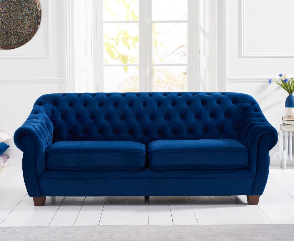 Mark Harris Liv Chesterfield Blue Plush Fabric 3 Seater Sofa
