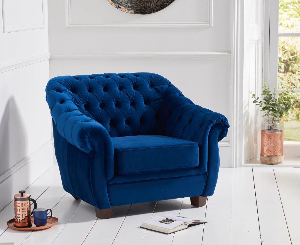 Mark Harris Liv Chesterfield Armchair - Blue Plush Fabric