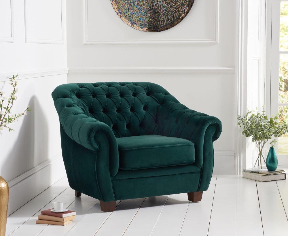 Mark Harris Liv Chesterfield Green Plush Fabric Armchair