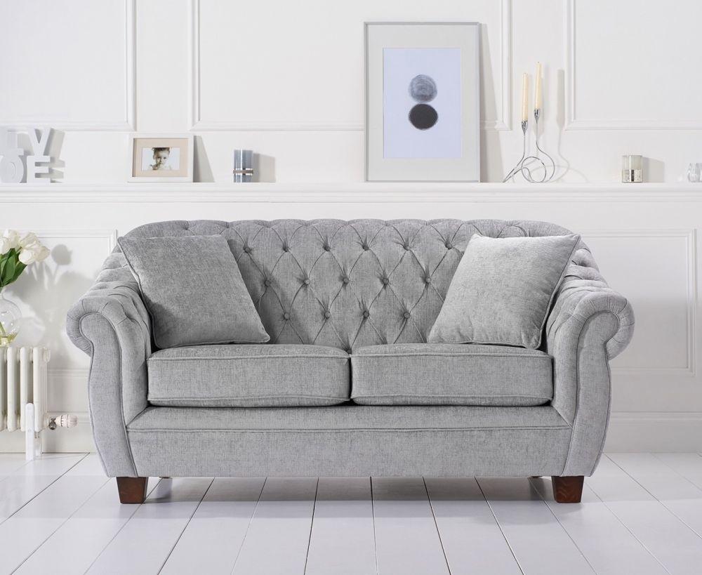 Mark Harris Liv Chesterfield Grey Plush 2 Seater Sofa