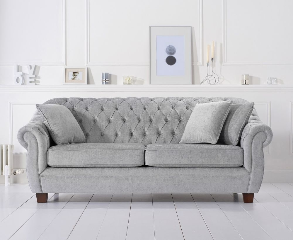Mark Harris Liv Chesterfield Grey Plush Fabric 3 Seater Sofa