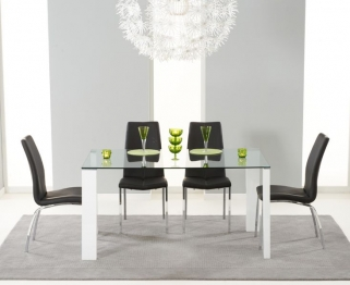 Mark Harris Lourdes Glass and White Gloss 150cm Dining Table with 4 Carsen Black Dining Chairs