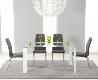 Mark Harris Lourdes Glass and White Gloss 150cm Dining Table with 4 Carsen Grey Dining Chairs