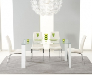 Mark Harris Lourdes Glass and White Gloss 150cm Dining Table with 4 Carsen Ivory Dining Chairs