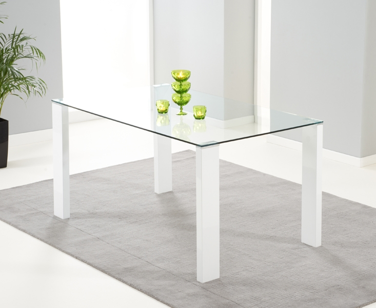 Mark Harris Lourdes White High Gloss and Glass Dining Table - 150cm Rectangular