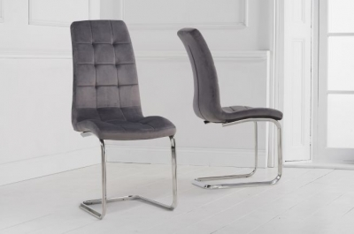 Mark Harris Lucy Hoop Leg Grey Velvet Fabric Dining Chair (Pair)