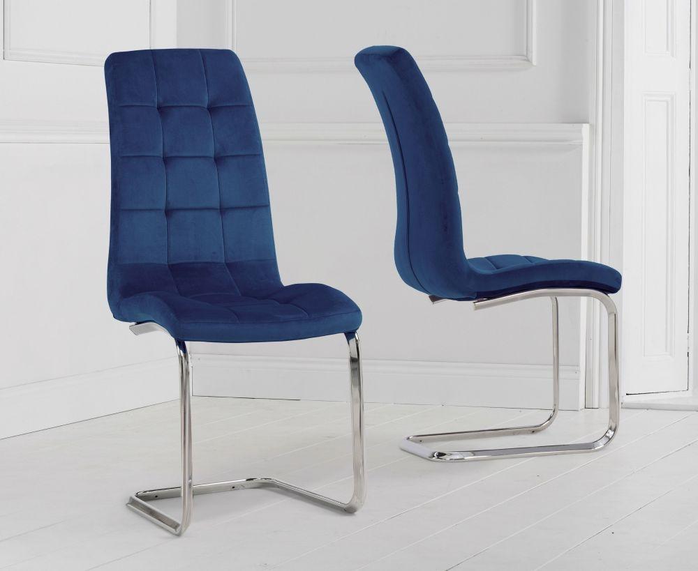 Mark Harris Lucy Blue Velvet Dining Chair (Pair)