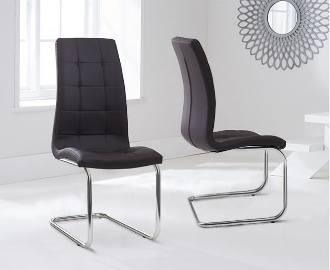 Mark Harris Lucy Brown Faux Leather Dining Chair (Pair)
