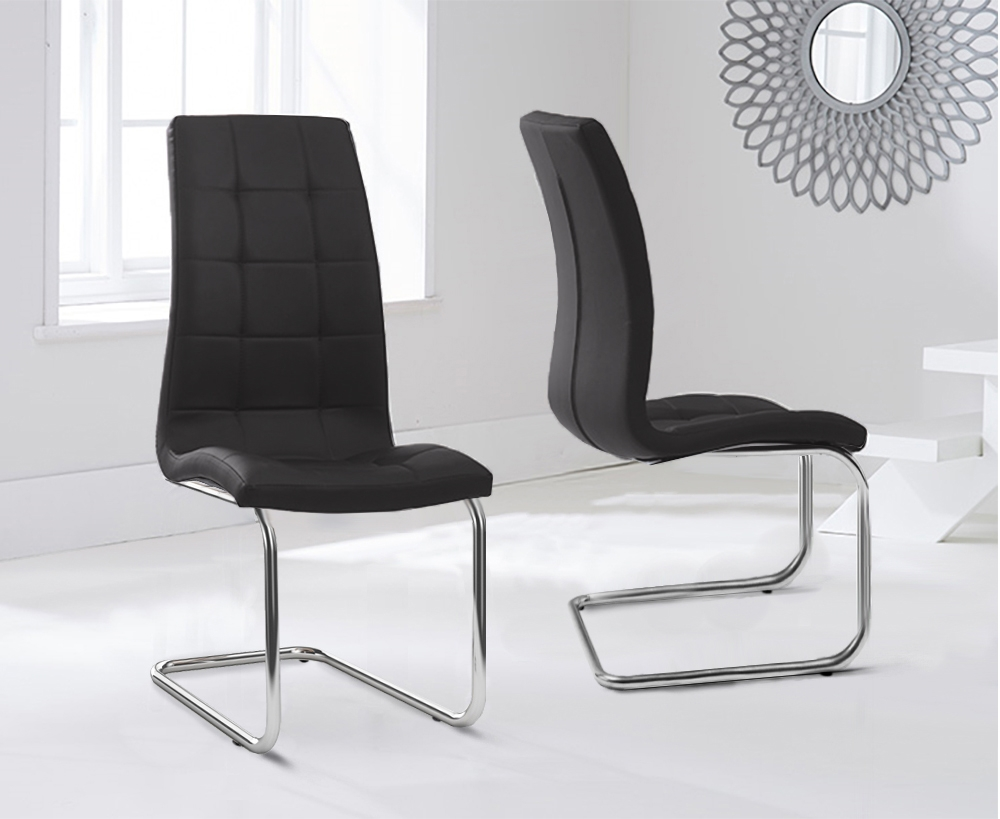 Mark Harris Lucy Black Faux Leather Dining Chair (Pair)