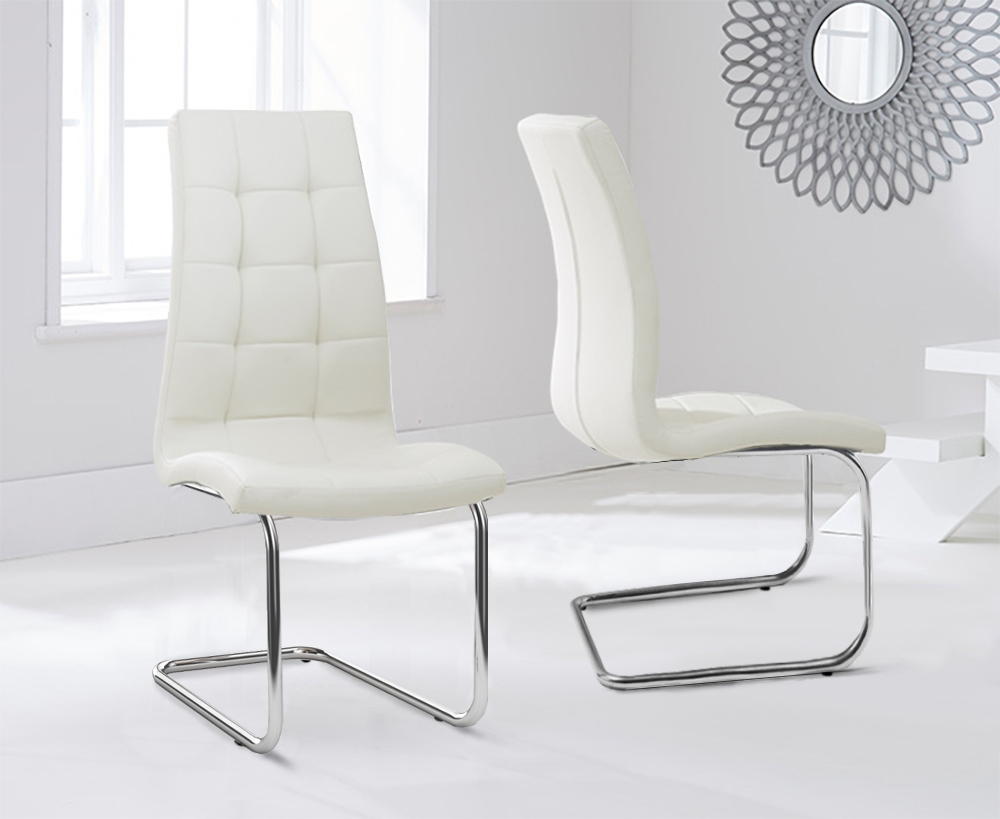 Mark Harris Lucy Cream Faux Leather Dining Chair (Pair)