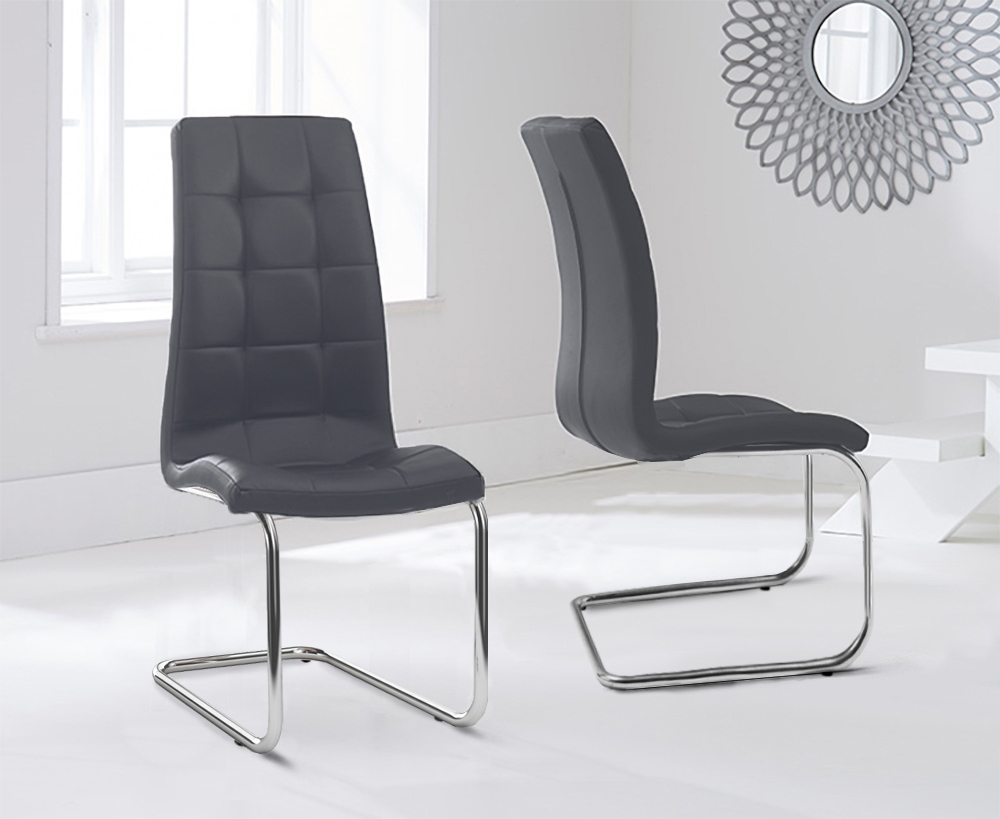 Mark Harris Lucy Grey Faux Leather Dining Chair (Pair)