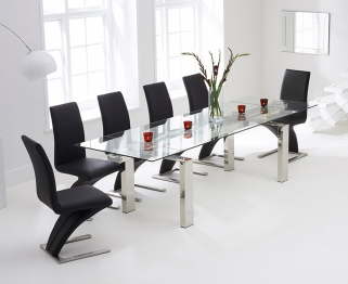 Mark Harris Lunetto 200cm Glass Extending Dining Table with 6 Hereford Z Black Chairs