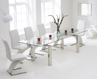Mark Harris Lunetto 200cm Glass Extending Dining Set with 6 Hereford Z White Dining Chairs