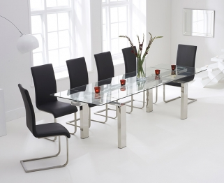 Mark Harris Lunetto 200cm Glass Extending Dining Table with 6 Malibu Black Chairs