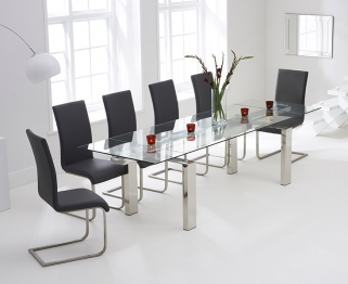 Mark Harris Lunetto 200cm Glass Extending Dining Table with 6 Malibu Grey Chairs