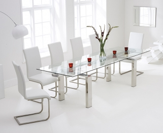 Mark Harris Lunetto 200cm Glass Extending Dining Table with 6 Malibu White Chairs
